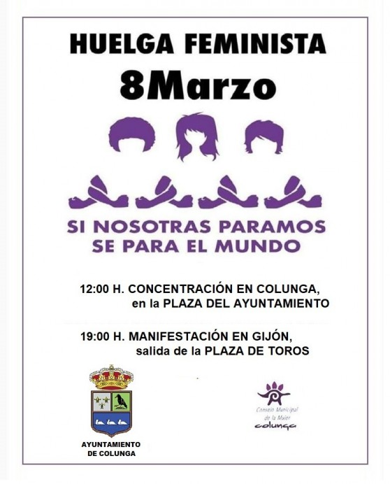 Nota Ayuntamiento de Colunga: Este viernes 8M todas a la #Huelga