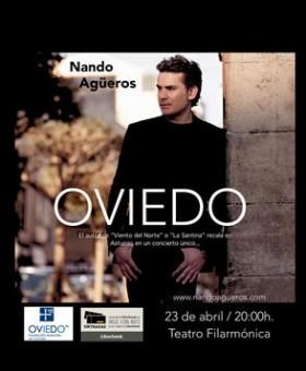 El intérprete cántabro, Nando Agüeros, de Tanea, en el Teatro Filarmónica de Oviedo