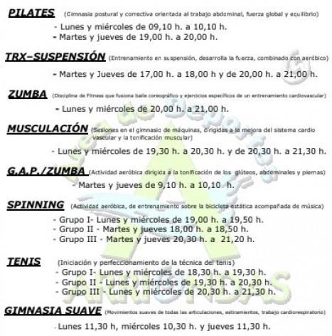 Cursos 2019/20 en el polideportivo de Arriondas