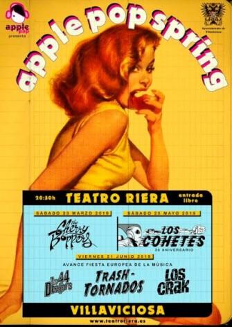 Primavera musical en Villaviciosa , con música en directo. The Cherry Boppers abren cartel este sábado en el Teatro Riera