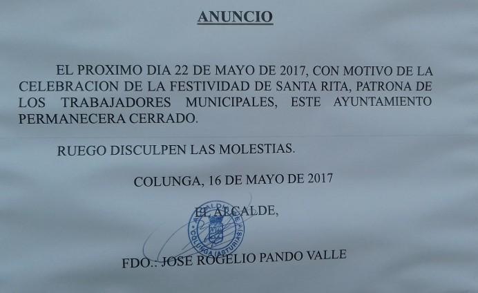 El lunes el Ayuntamiento de Colunga permanecerá cerrado