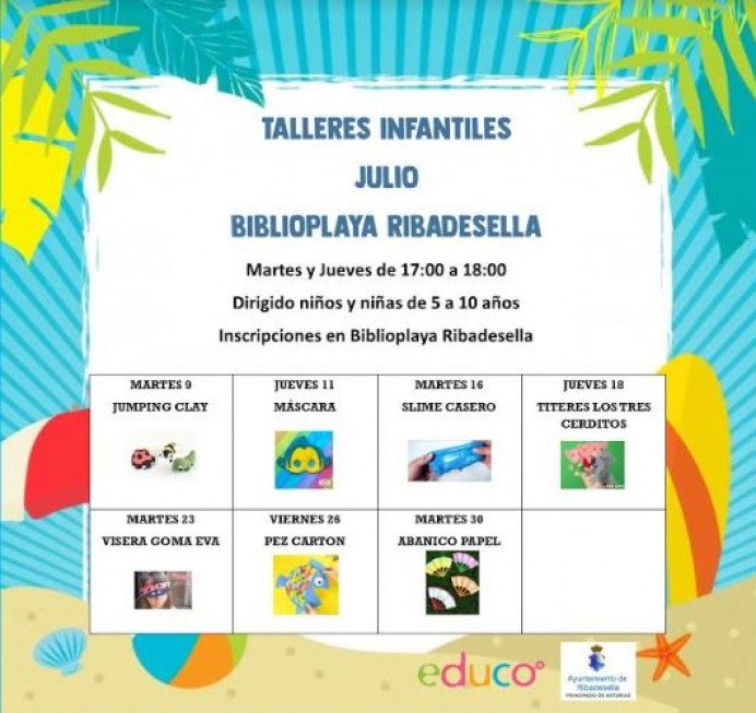 Talleres Infantiles en Biblioplaya de Ribadesella