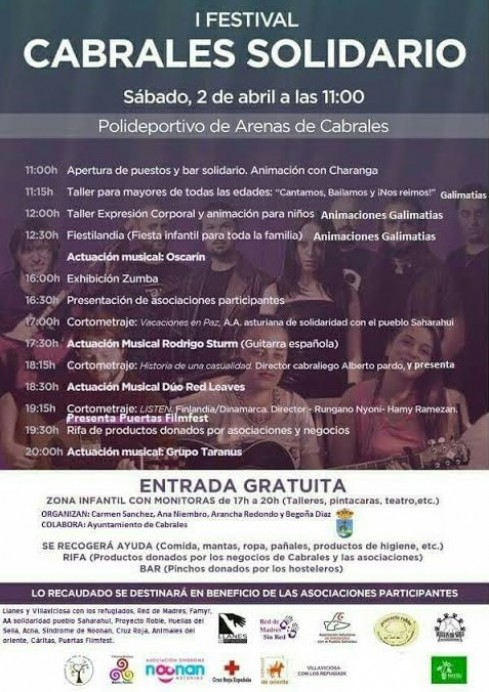 El próximo Sábado 2 de Abril se celebra el primer festival solidario de Cabrales