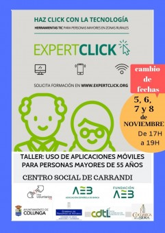 Taller Expertclick Uso de Aplicaciones móviles para personas mayores de 55 años