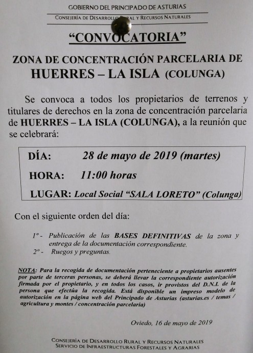 Concentración parcelaria Huerres-La Isla