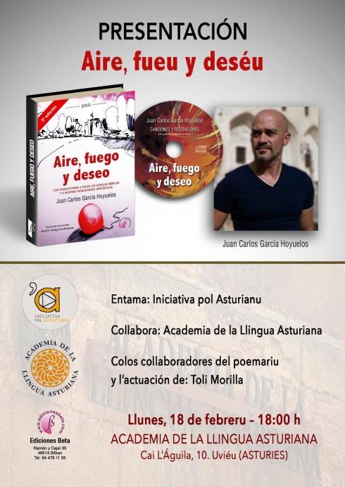 Presentación del poemariu Aire, fuego y deseo deJuan Carlos Hoyuelos