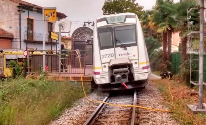 Incendio de tren en Llanes