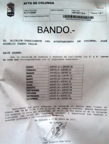 Recogida de Muebles y Enseres en el Concejo de Colunga - Noticias de Asturias