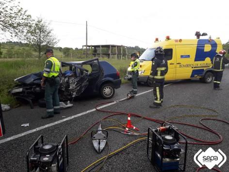Accidente de tráfico con persona fallecida en Nava