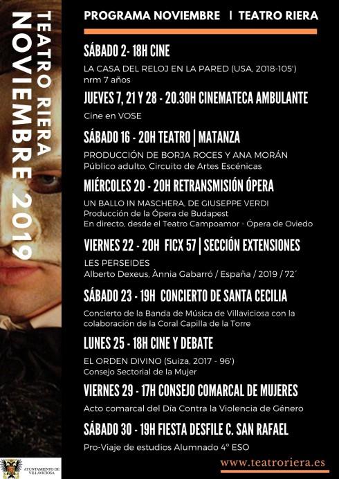 Noviembre es el mes del cine en el Teatro Riera