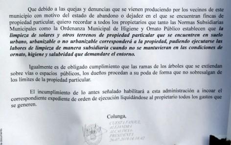 Bando sobre Ordenanza Municipal de Higiene y Ornato Público