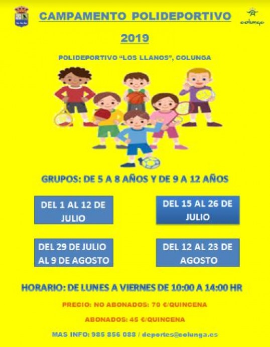 Campamentos de verano en el Polideportivo de Colunga