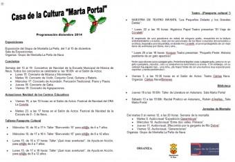 Programación del mes diciembre en la Casa de Cultura