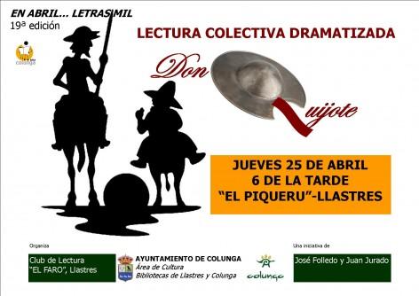 Lectura colectiva dramatizada de capítulos de El Quijote, el 25 de abril en Llastres
