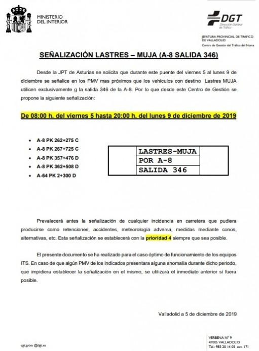 Señalización Lastres-MUJA (A-8 salida 346)