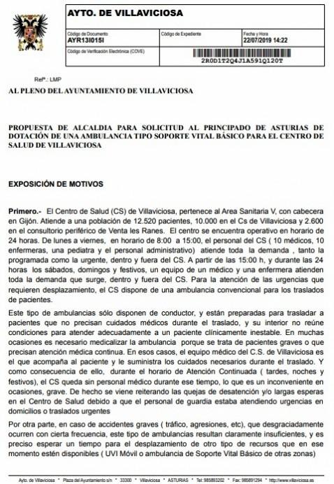 Firmas solicitando ambulancia para Villaviciosa