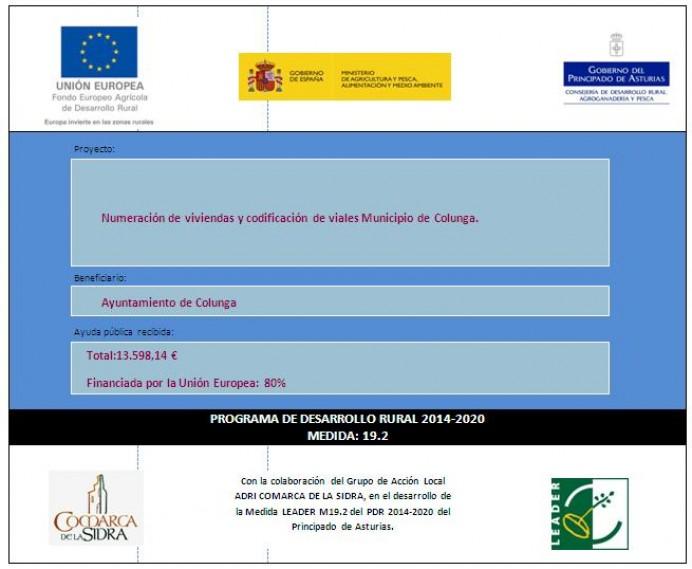 Ayuda Leader: Numeraciòn de viviendas y codificación de viales- Municipio de Colunga